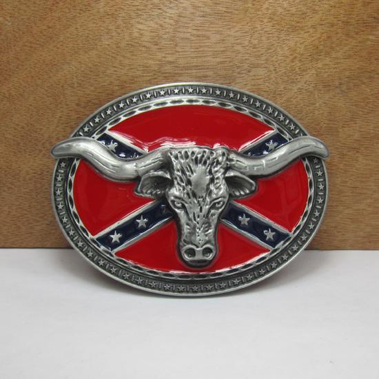 BuckleHome повстанцев бык пряжка Конфедерации пряжка с оловянные покрытия FP-02445 бесплатная доставка