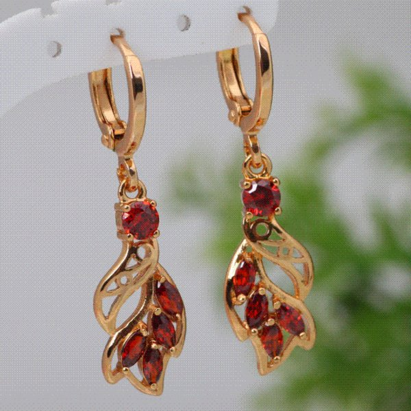 Fashion cz 18K gold plated Red Zircon Garnet earrings fashion jewelry Free shipping E152 Drop Earrings