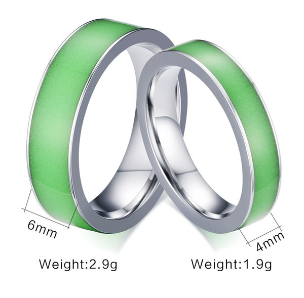 Men Green Glow in the Dark 6mm Titanium Stainless Steel Wedding Jade Ring anel Engagement Band Fashion Christmas Hallowmas Jewelry Gift