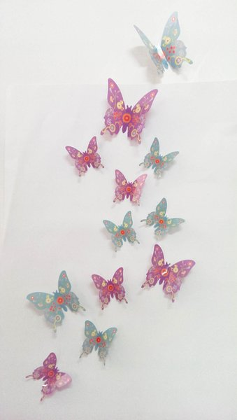 12pcs/lot Colorful Butterfly 3D Wall Decals DIY Home Party Wedding Decoration Poster Kitchen Refrigerator Decal Crafts Butterfly Decor Mural