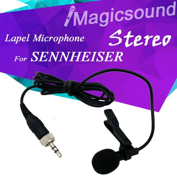 Professional Lavalier Lapel Stereo Cardioid Condenser Microphone for Sennheiser Wireless BodyPack Transmitter 3.5 mm Lockable