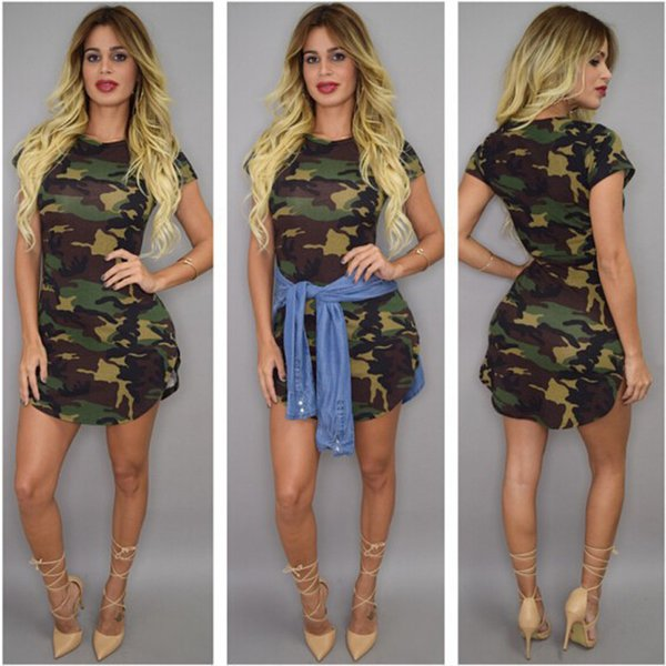 d13cfbc319f98 Sexy Camouflage Dress Women Asymmetrical Dress American Style Fashion  Fittness Club Party Dress S XL Floral Sundresses Shop Cocktail Dresses From  ...
