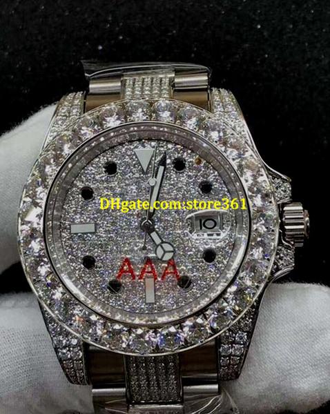 4 style MENS SWISS WATCH 116610 black DIAMOND dial DATE WATCH Automatic Watch big Diamond Bezel 40MM Diamond stainless steel strap