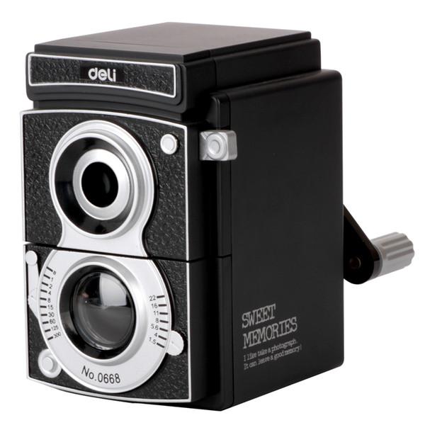 Süße Erinnerungen Deli 0668Vintage Kamera Bleistiftspitzer Handschärfer Geschenk Alte schwarze Kamera Mechanische Bleistiftspitzer