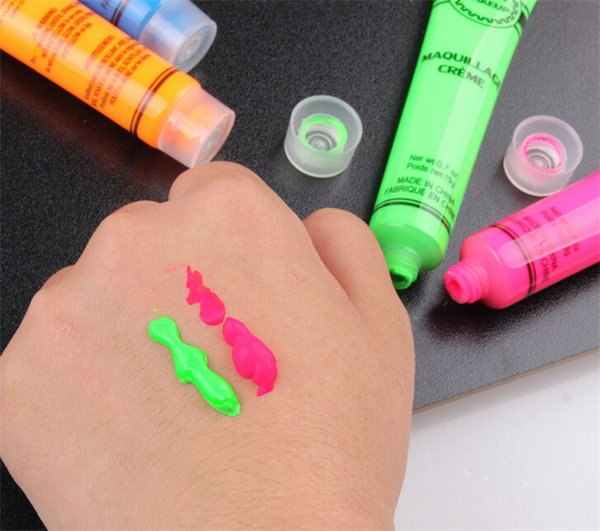 2017 Neon UV Bright Face & Body Paint Fluorescent Rave Festival Painting 13ml Halloween professional painting Beauty Makeup