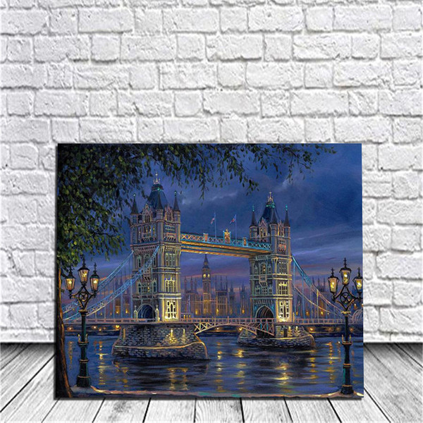 Bridge Diy Digital Oil Painting By Numbers Kits Wall Art Painting Home Room Live Decor Acrylic Painting On Canvas For Work Of Art