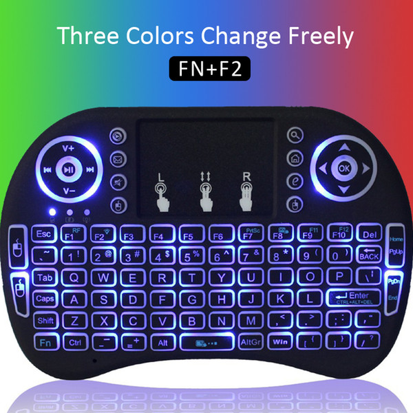 best selling Portable Rii i8 Mini Wireless Keyboard Touchpad Game LED Backlight Fly Air Mouse Remote Control Handheld For Android TV Box S905W S912 MXQ