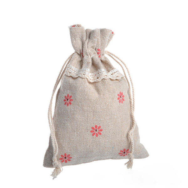 Drawstring Cotton Linen Lace Pouches Pastoral Red Flowers Gift Bag Candy Packing Bag 25PC Color Send Randomly