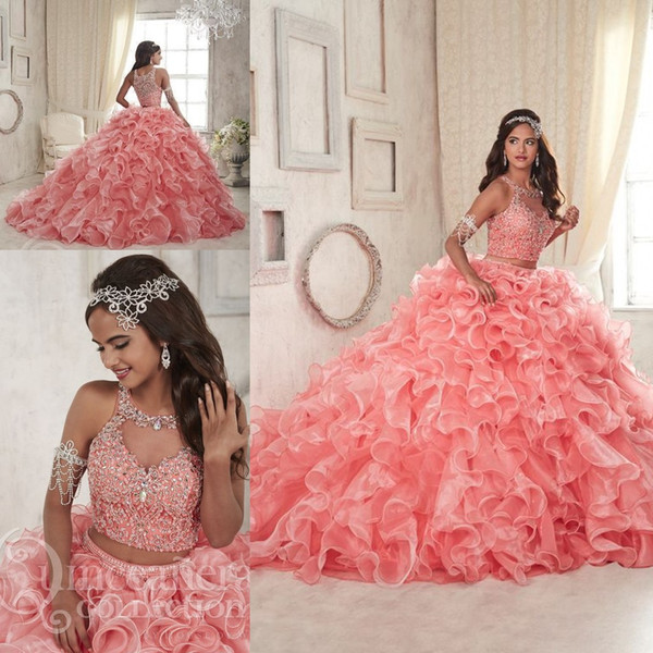 Coral Lace Organza Two Pieces Quinceanera Dresses 2018 Modest Ruffles Sweet 16 Ball Gown Plus Size Vestito Sheer Prom Occasioni trasparenti