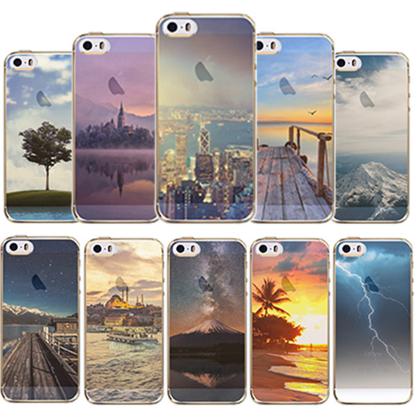 Wholesale-Phone case For Apple iPhone 6 6s Beautiful City Mountain Ocean Tower Transparent Case Cover 6 Series Soft TPU Crystal Back cover