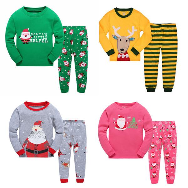 Long Sleeve Girls Boys Kids Cotton Christmas Pajama Suits Sleepwear Fashion For Christmas 2-7 Years 6 sets/lot