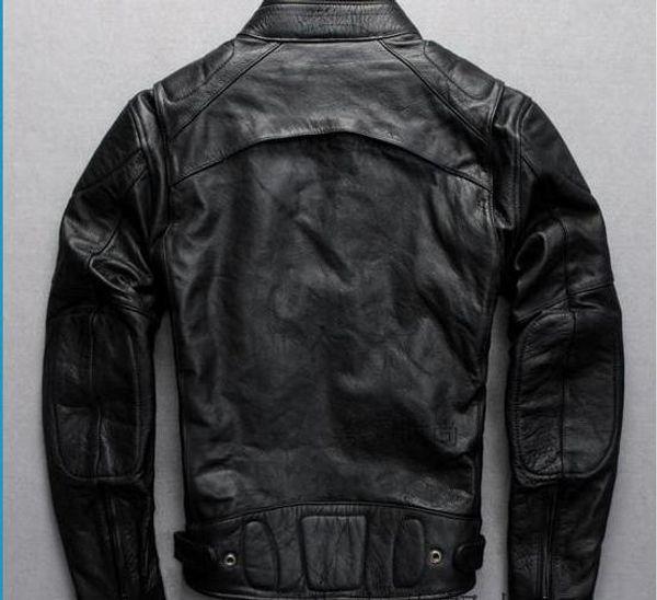 Ropa de la motocicleta de los hombres clásicos Abrigos de cuero grueso cuero de vaca genuino EE.UU. Canadá Locomotora de la motocicleta outwear DHL