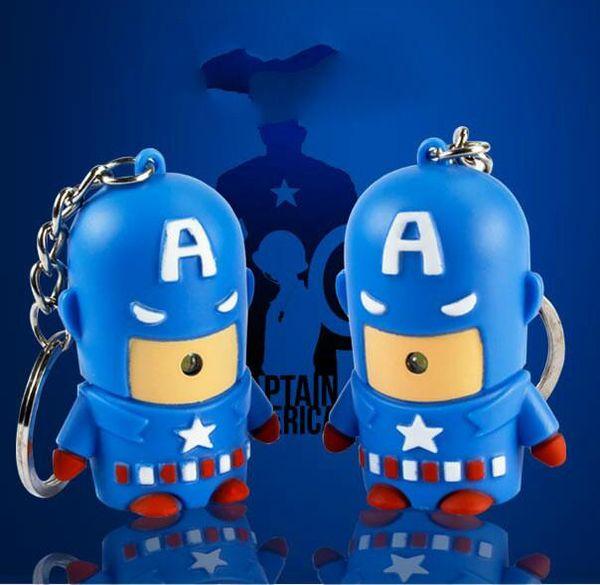 2017 Avengers Captain America led light Keychain flashlight pendant sound creative gift for kids free shipping