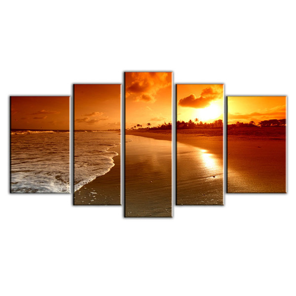 Amosi Art-5 Panel Sea Sunrise Landscape Paintings Canvas Printing Beautiful Simple Scenery Paintings for Home Decor (Wooden Framed)