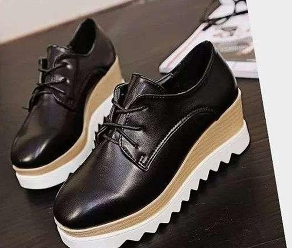 2015 New women's High Platform Shoes Creepers Vintage Lace-Up Woman Flat Shoes Boat Shoes Sapatos Mujer Women Black