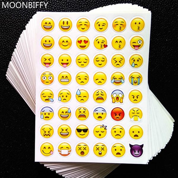 1 sayfalık 3D sticker 48 Emoji çıkartmalar Gülümseme yüz çıkartmalar dizüstü için, mesaj Twitter Büyük Viny Instagram Gülen oyuncaklar