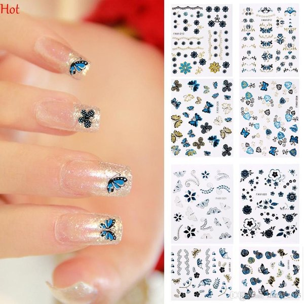 2D Design Nail Stickers cute DIY Watermark Butterflies Printed Tip Nail Art Nail Sticker Nails Decal Manicure Nail Decoration Tools SV128523