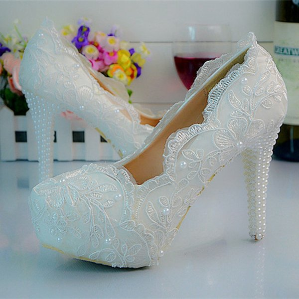 White Color Lace Flower Platform High Heels Bridal Wedding Party Shoes Women Party Prom Shoes Plus Size 11 12 Bridesmaid Shoes