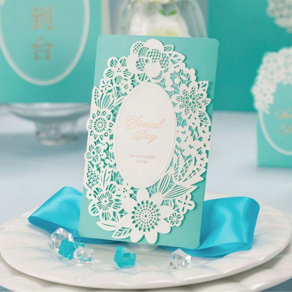 Atacado - Tiffany Azul Decorações De Casamento China Corte A Laser De Luxo Convites De Casamento Wishmade Elegante Cartões De Convite De Casamento 50 pcs