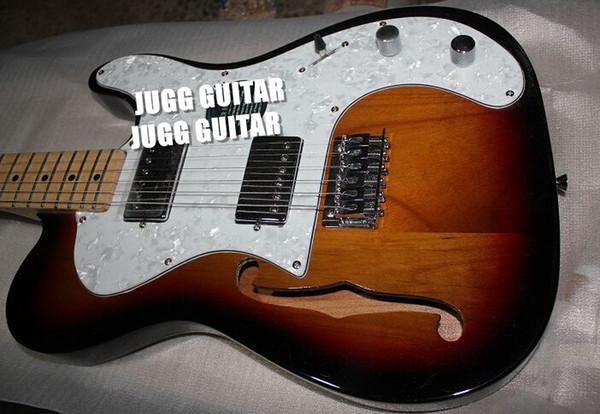 Custom Shop Tele Tobacco Sunburst Semi Hollow Body Single F Hole Electric Guitar Maple Fingerboard Chrome Hardware TL White MOP Pickguard