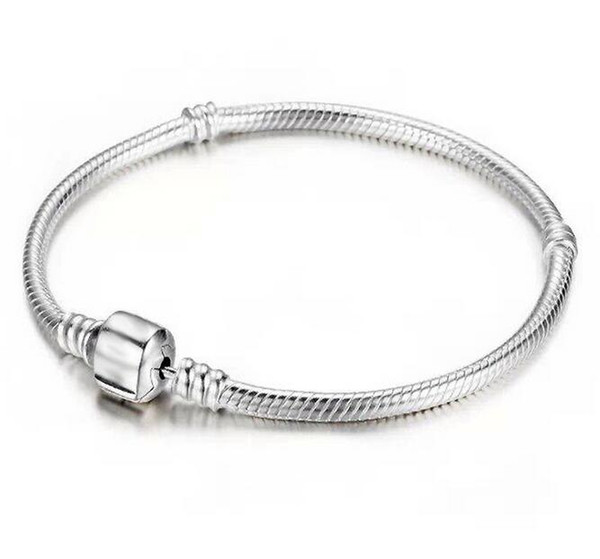 best selling Factory Wholesale 925 Sterling Silver Bracelets 3mm Snake Chain Fit Pandora Charm Bead Bangle Bracelet Jewelry Gift For Men Women