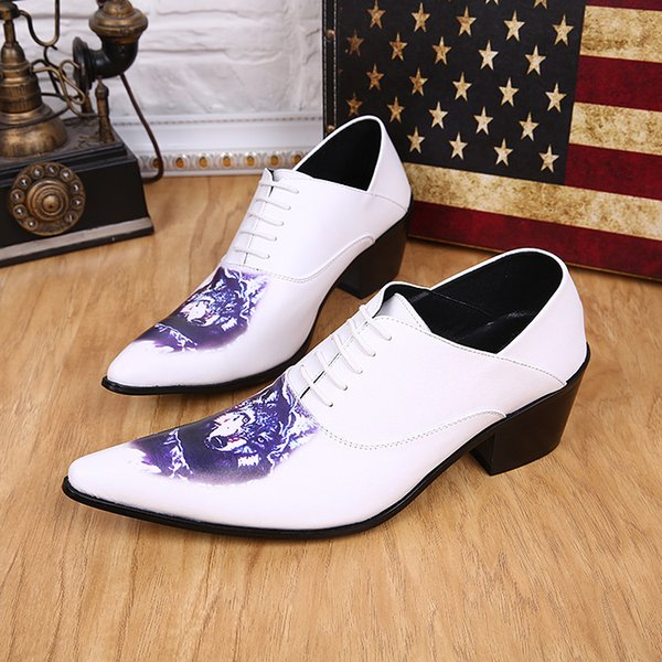United Kingdom style outdoor casual hiking shoes White Leather men's shoes men's fashion tip toe dance shoes dance of young animal prints