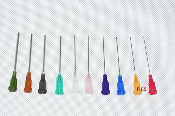 best selling wholesale 14G-25G W  ISO standard Dispensing needles PP luer lock hub 1.5 -inch tubing length precision S.S. dispense blunt tips1000pcs lot