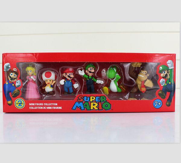 In Box Super Mario Bros Luigi donkey kong Peach Toad yoshi Action Figures 6pcs/set yoshi mario figure toys doll