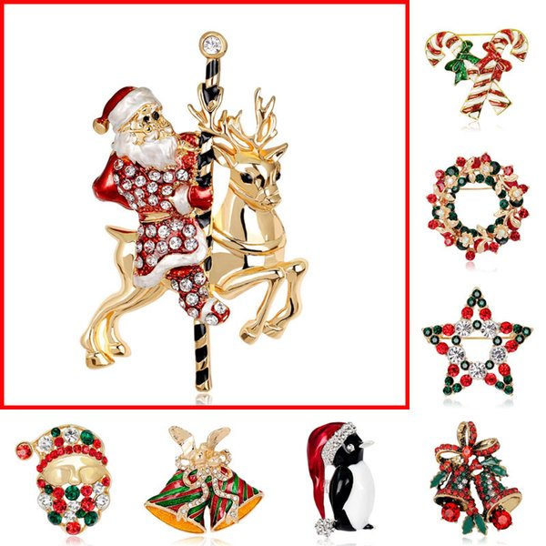 20 type Crystal Christmas Santa Boot Snowman Jingle Bells Trees Brooches Pins Corsage Scarf Clips Gold silver Xmas Jewelry BY DHL 170671