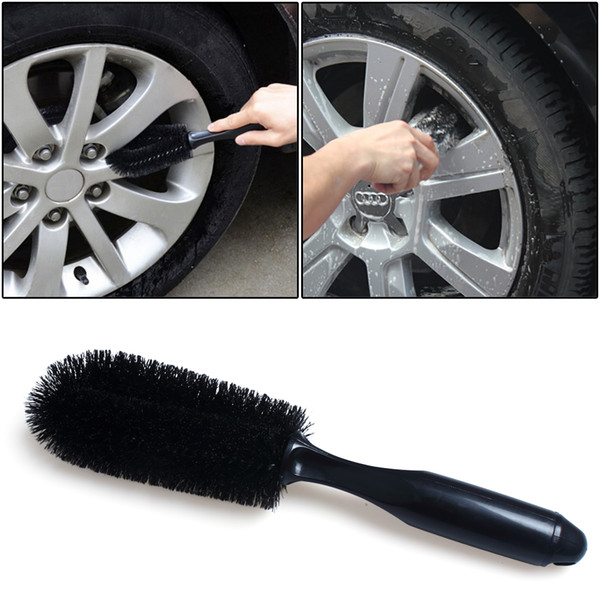 best selling Car Wheel Tire Rim Hub Brush Motor Motorcycle Tyre Dust Dirt Remover Cleaner Cleaning Brush Black