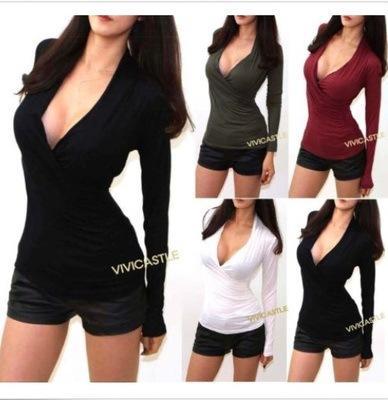sexy mince col en v à manches longues femmes chemisier t-shirt en tricot chemise à section mince printemps automne hiver mode vêtements vente chaude