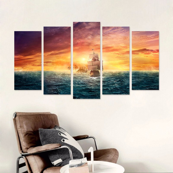 Pirate Ship Big size 5pcs sea sun decoration gold seascape wall art pictures landscape Canvas Painting boat living room unframed