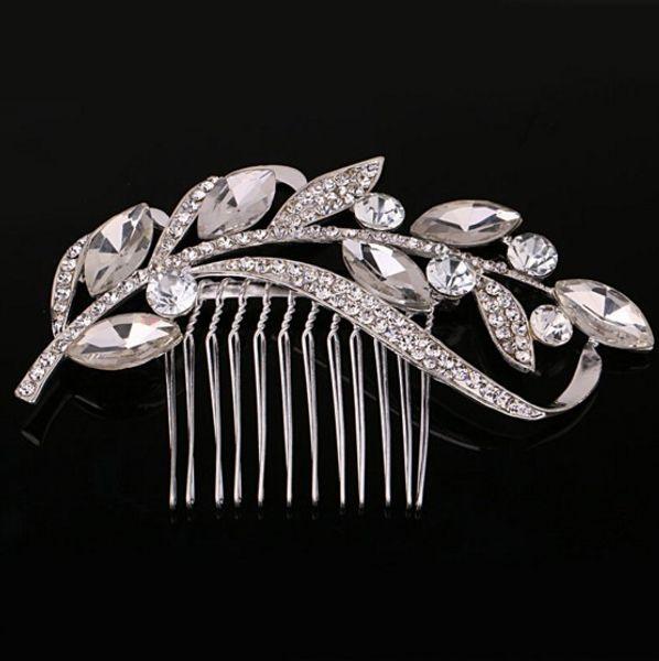 Vintage Leaf Crystal Silver Bridal Hair Combs Hairpin Tiara Wedding Hair Accessories Hair Jewelry Bridal Head Pieces