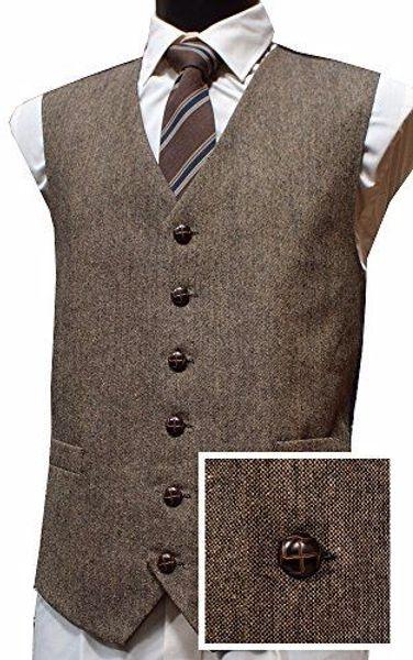 2019 Vintage Brown Wool Tweed Vests British Style Mens Suit Waistcoat Custom Made Slim Fit Blazers Wedding Tuxedo Vests For Men