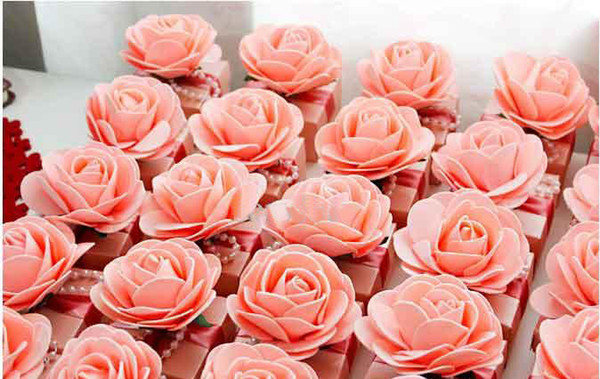30Pcs/Lot Free Shipping Beautiful Pink Flower Candy Boxes Wedding And Party Favor Gift Box Birthdays Gifts