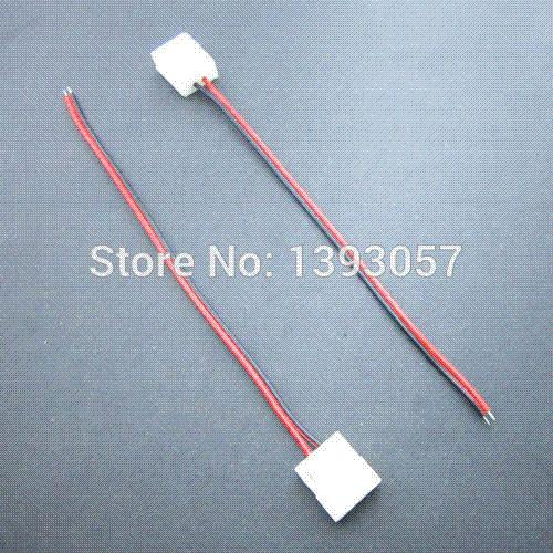 50 stücke 3528 led flexible streifen wasserdichte stecker 8mm 2 pin 1 ende stecker kabel für einfarbige led streifen