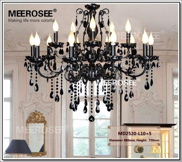 Vintage Black 15 Arms Crystal Chandelier Light Fixture Large Project Lighting American Wrought Iron Chandelier Hanging Light MD2520 L15