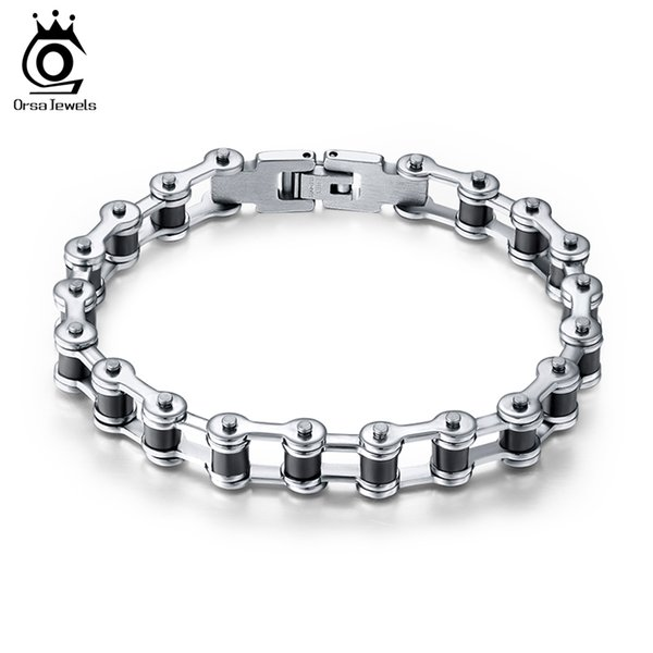top popular Top Quality Men's Motor Bike Chain Motorcycle Chain Bracelet Bangle 316L Stainless Steel Jewelry with Silicone GTB29 2019