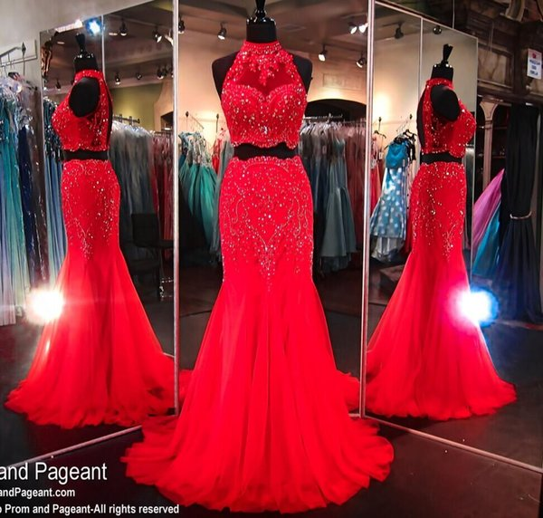 High Neck Two Pieces Long Red Evening Dresses 2016 Sexy Heavy Beads Crystal Mermaid Formal Prom Gowns Hot Fashion Open Back Formal Wear