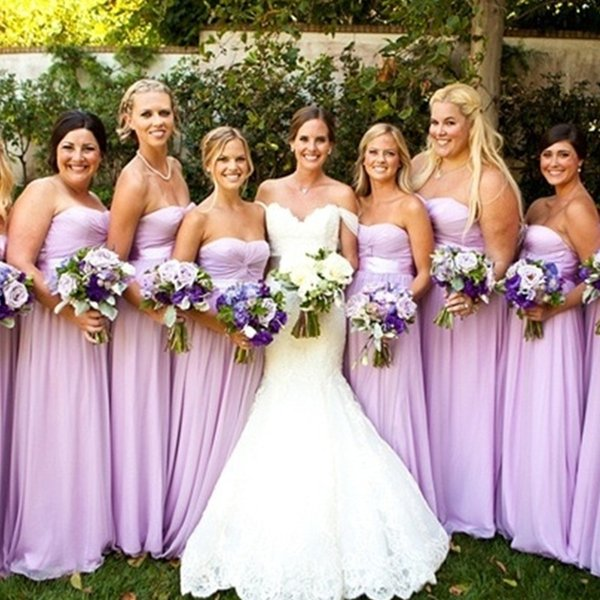Lilac Bridesmaid Dresses Sweetheart Ruched Sash 2016 Chiffon Ribbon Long Wedding Party Gowns Cheap Junior Prom Dress For Girls