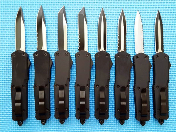 top popular A07 9 inches double action auto knife 440C steel Two-tone Aluminum zinc alloy handle custom EDC Tactical knives Tools 2019