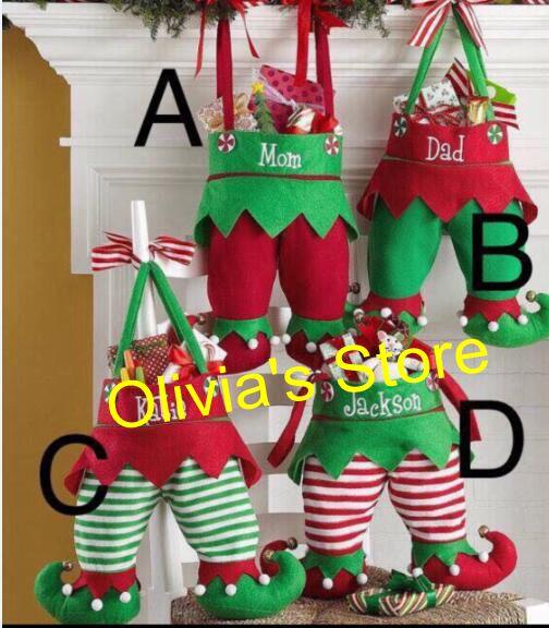 Non Woven Fabric Christmas Elf Pants Stocking Candy Bag Kids X Mas Party Decoration Ornament Tree Hanging Gift Bags Stocking Christmas Lawn Decoration