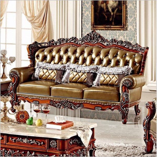 hot selling new arrival high quality European antique living room sofa furniture genuine leather sofa set pfy4001