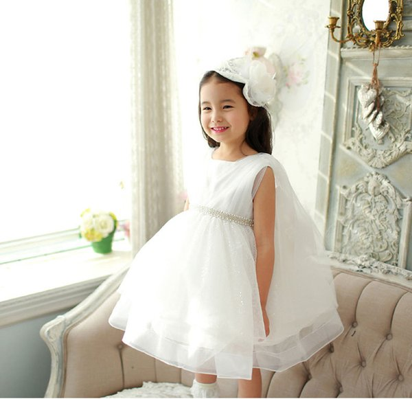 PrettyBaby 2016 summer white girls dress sleeveless pure white pearl belt mesh tutu dress free shipping