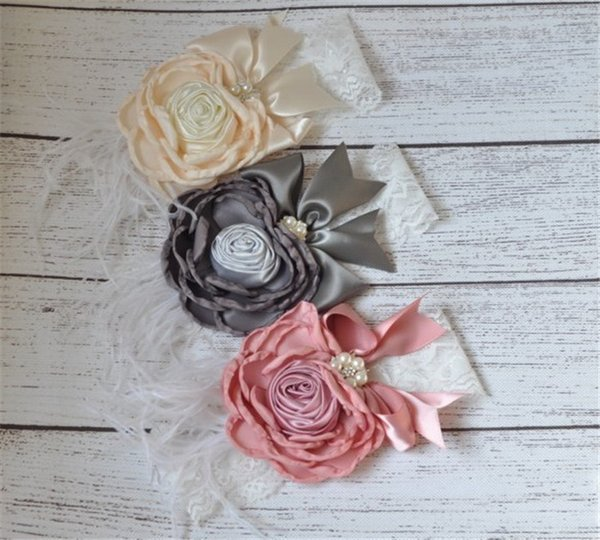 Baby Girls Lace Headbands Kids Girl 3D Flower Headband 2017 Infant Princess Diamond Feather Headband Children Hair Accessories Photo Props