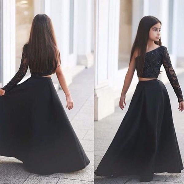 2020 New Modest Girls Pageant Dresses Two Pieces One Shoulder Beads Black Sexy Flower Girl Dress For Child Teens Party Cheap Custom Made