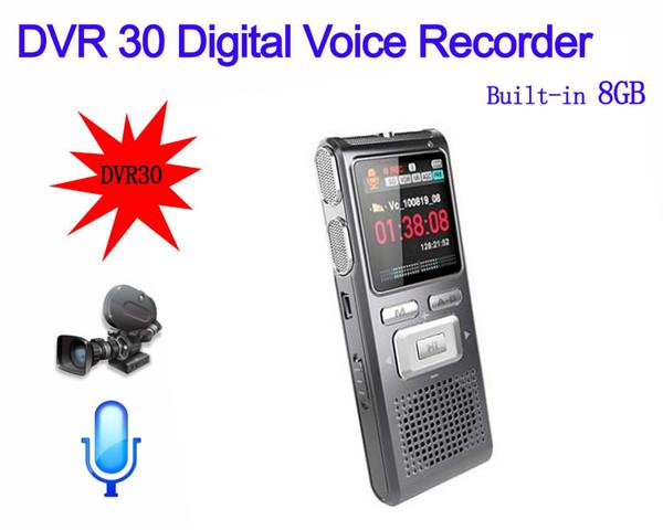 All'ingrosso-8GB DVR30 Digital Audio Voice Recorder Nuovo multi-funzione LCD fotocamera digitale Dittafono Telefono MP3 Player Speaker 640 * 480