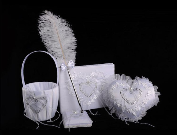Hot sell western wedding products 4 sets of creativeringpillow+signbook+featherpen+flowerbasket