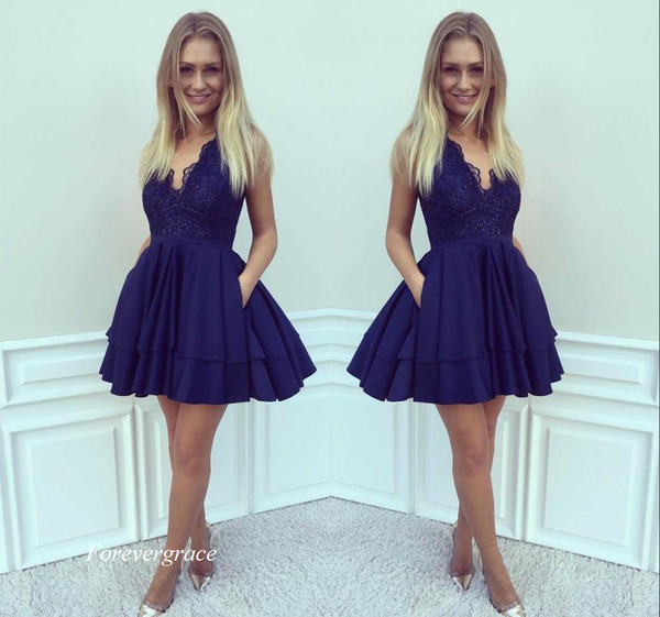 a0a8e39d9d3 2017 Cheap Royal Blue Lace Homecoming Dress A-line Juniors Sweet 15  Graduation Cocktail Party Dress Plus Size Custom Made