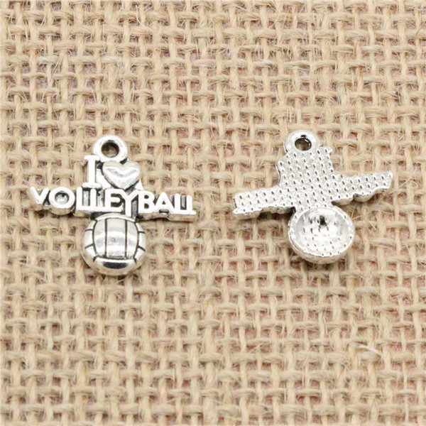 Wholesale 80pcs Charms Tibetan Silver/Antique Bronze plated i love volleyball 21*20mm Pendant for Jewelry DIY Hand Made Fitting